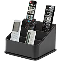 JackCubeDesign 3 Compartments Black Leather Remote Control Organizer Holder, Controller TV Guide, Media Storage Box - :MK122B