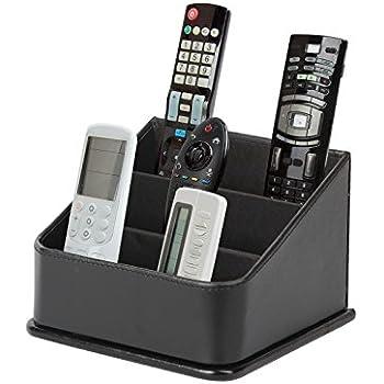 Attirant JackCubeDesign 3 Compartments Black Leather Remote Control Organizer  Holder, Controller TV Guide, Media Storage Box   :MK122B
