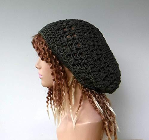 Handmade Hemp Cotton Modal Slightly Slouchy Beanie Small Dread Tam Hat Dark Khaki