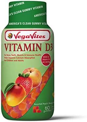 VegaVites Vitamin D3 Gummy Vitamins 2000 IU - The Clean Vitamin! - Vegetarian, Halal, Kosher Adults & Children - Non GMO, Gluten Free & Gelatin Free (60 Count)
