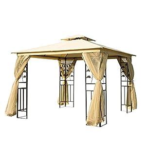 Outsunny Carpa para Exterior con Mosquitera Cenador Elegante para Jardín Terraza con Piquetas para el Suelo Poliéster 300x300x265 cm Acero Beige