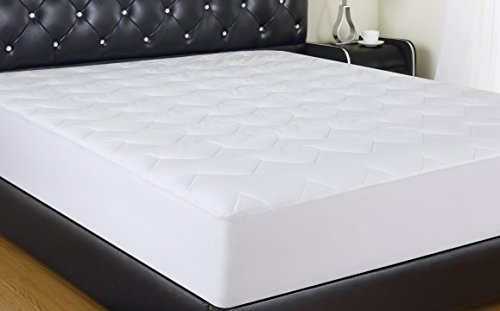 ALLRANGE 100% 200TC Cotton Hypoallergenic Quilted Mattress Pad, Fits Mattress up to 18