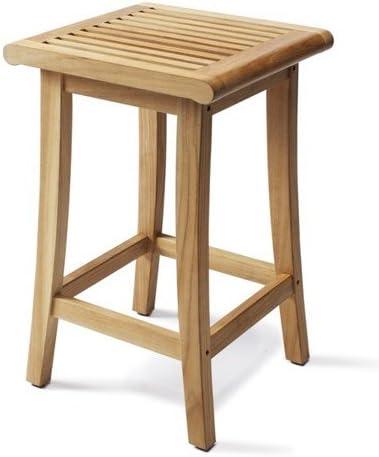 WholesaleTeakFurniture TeakStation Giva Grade-A Teak Wood Outdoor Patio Garden Backless Bar Stool/Chair