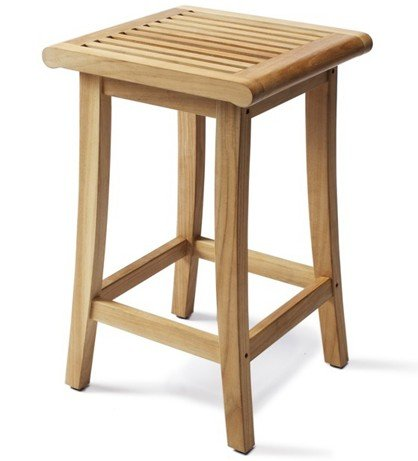 TeakStation Giva Grade-A Teak Wood Outdoor Patio Garden Backless Bar Stool Chair