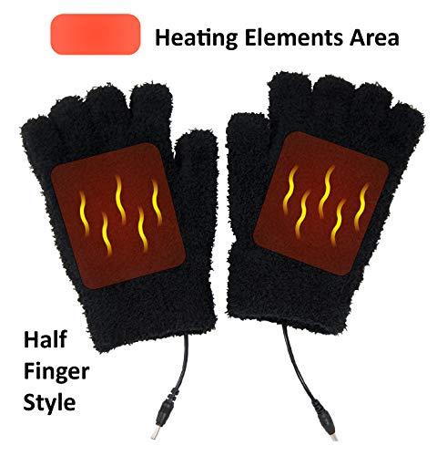 Obbomed® MH-1000 Far Infra-red Carbon Fiber Heated Warming Gloves, Half Finger, USB 5V 6W Laptop, iPhone, Power Bank, PC, Wavelength 8-15 μm (Health Range: 4-14 μm)-Universal Stretchy Size