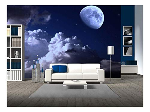 wall26 - Night Sky with The Moon, Clouds and Stars - Removable Wall Mural | Self-Adhesive Large Wallpaper - 100x144 inches]()