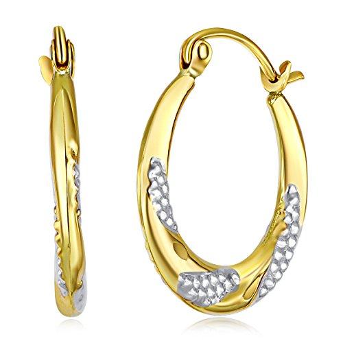 Wellingsale Ladies 14k Two Tone White and Yellow Gold Polished Swirl Fancy Hoop Earrings (18 x 18mm)
