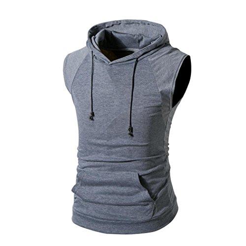 Shirt Underwear Collar Zip (kaifongfu Men's Top,Men Pure Color Zip Hooded Top Short Sleeve T-Shirt (L(US_M), Dark Gray A))