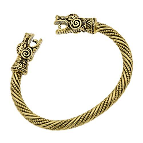 Norse Viking Amulet Bracelet Vintage Snake Pi Xiu Dragon Head Carved Bangle 1Pc ()