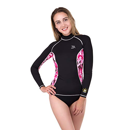 IST DS-56 Women's Long Sleeve Spandex Rash Guard (Floral and Black, XS)