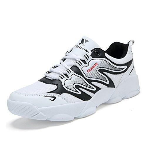 Beauqueen 2017 Männer Leichte Low-Top Sneakers Casual Wanderschuhe Basketball Schuhe 39-44 (Color : White+Red, Größe : 41)