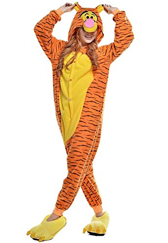 Unisex-Adult Hooded Tiger Halloween Party Fancy Dress Costume (XL (height:5'10''-6'2''/178cm-188cm)) -