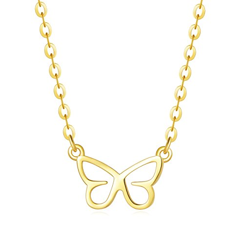 (Carleen 18K Yellow Gold Plated 925 Sterling Silver Butterfly Dainty Pendant Necklace for Women Girls with 15.75