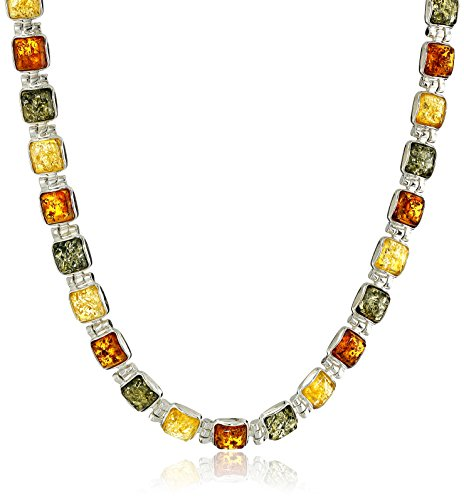 Sterling Silver Multi-Color Amber Necklace, 17'' by Amazon Collection