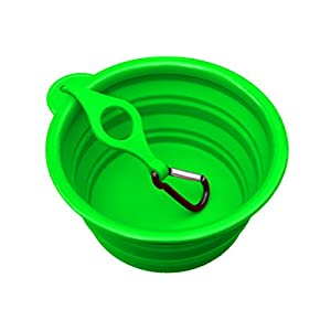 "Northern Outback Supersize Travel Pet Bowl 5 Cup - Bonus Clip and Carabiner, XL for Medium to Large Dogs or Cats. Silicone Travel Dog Bowl 40oz 7"" Diameter (Green) Best Collapsible 34"