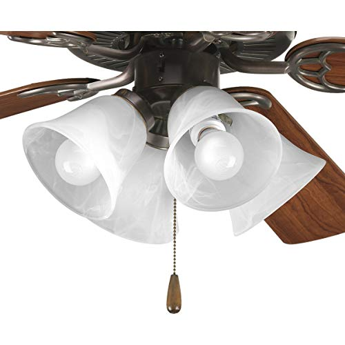 Progress Lighting P2610-20 4-Light Kit with White Washed Alabaster Style Glass For Use with P2500 and P2501 Ceiling Fans, Antique Bronze