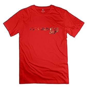 Custom Golden Eye 007 James Bond Men's Tshirt Red Size L