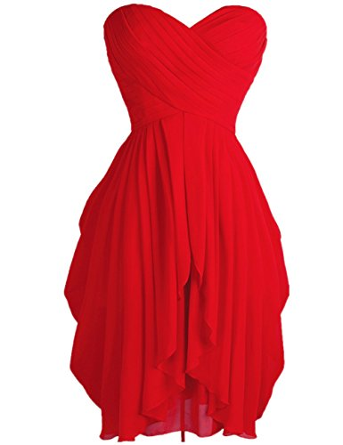 FEESHOW Junior's Party Chiffon Dresses Strapless Sweetheart Lace Up Back Dresses Prom Homecoming Dresses Red 8
