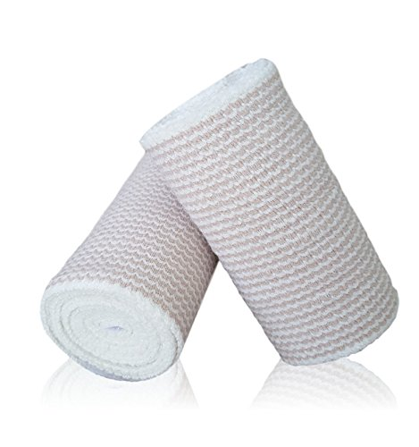 HGP Cotton Elastic Bandages 2 Pack - Self Adhesive Latex Free Wrap With Touch Closure at Both Ends - Extra Wide 4 Inch X 15 Feet Long - Precise Compression With No Clips or Tape for Knee Leg or Ankle
