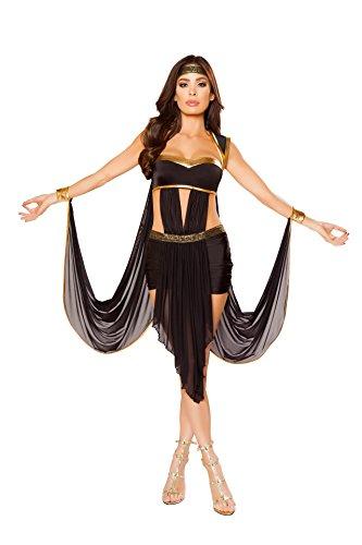 Fest Threads 2 PC Greek Goddess Black Dress w/Attached Wristcuffs & Headband Party Costume ()