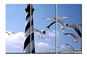 Canvas Print Wall Art Painting - 3 sets pictures of Sea Gull and Lighthouse Paintings - The Picture For Living Room Decoration,City Pictures Photo Prints On Canvas