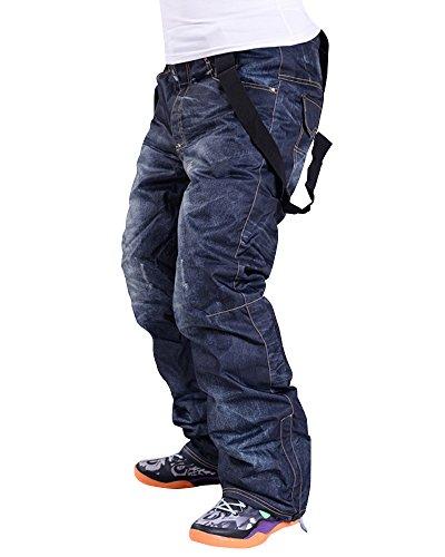 Asfixiado Men's Winter Warm Waterproof Hip Ski Snowboard Denim Pants Suspenders Snowboarding Jeans Trousers #16097M