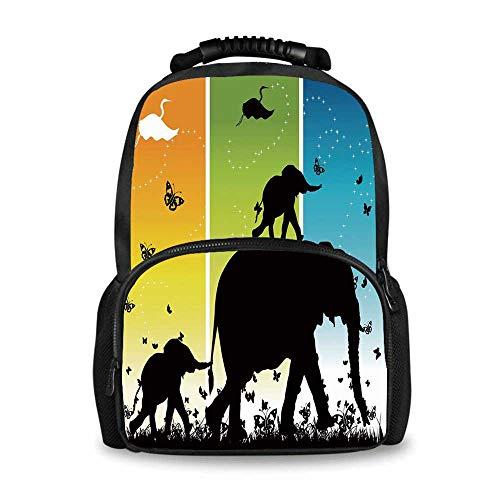Zoo Adorable School Bag,Magical Fantastic Colorful Nature Abstraction Elephant Butterflies Birds Rural Safari for Boys,12