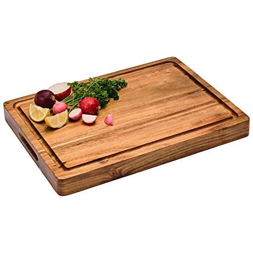 Large Reversible Multipurpose Thick Acacia Wood Cutting Board: 16x12x1.5 Juice
