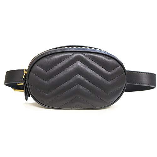 Designer Waist Bag for Women Fanny Packs Fashion Purses Quilted Leather Belt Bags Black