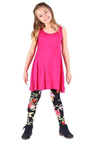 Lori&Jane Sleeveless Hot pink boho tunic tank top solid flowy loos fit soft girls made in USA (10/12) from Lori&Jane
