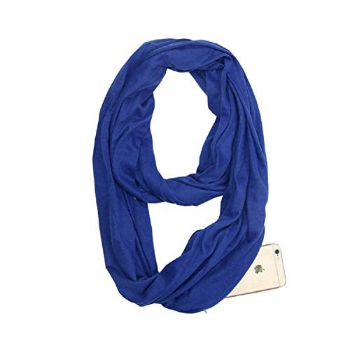 Convertible Infinity Scarf with Pocket Stylish Hidden Zipper Pocket Travel Scarf Pattern Lightweight Wrap Neck Gaiters - Pocket Scarf Pattern