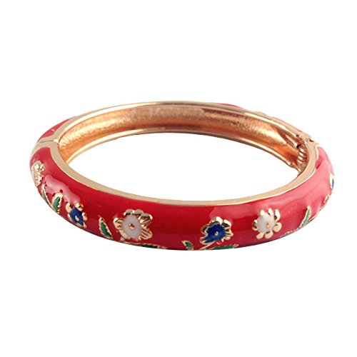 UJOY Classic Indian Style Bracelet Golden Flower Enameled Cloisonne Jewelry Bracelet Gift Box 55D25 red