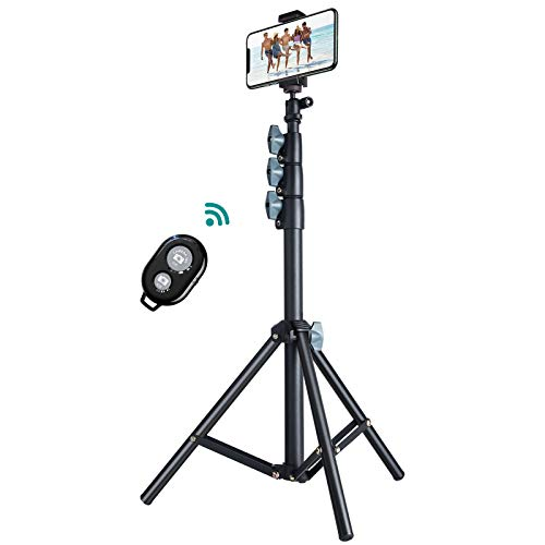 """60"""" Phone Tripod, VICSEED Universal Phone Tripod Stand with Bluetooth Remote, Tripod for iPhone Heavy Duty Fully…"""