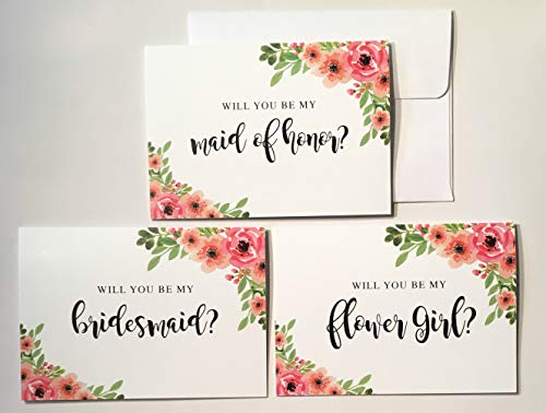 6 Bridesmaid Proposal Cards, 1 Maid of Honor Proposal Card, 1 Will You Be My Flower Girl Card - Set of 8 Cards - Elegant Floral Bridesmaid Proposal - Bridal Party Card - Bridesmaid Card