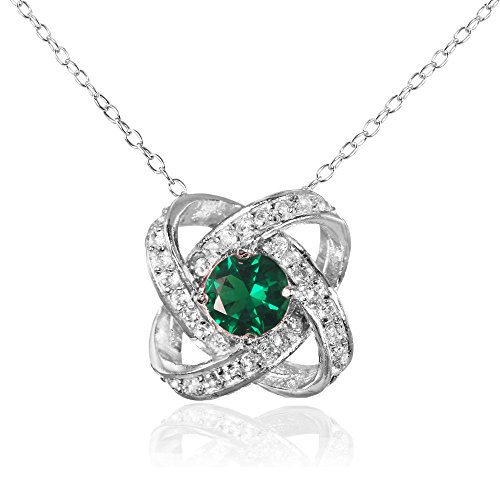 - Ice Gems Sterling Silver Simulated Emerald and White Topaz Love Knot Necklace