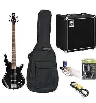 Pack Completo Guitarra Baja Ibanez gsr200 negra con amplificador Ampeg (+ funda + afinador +
