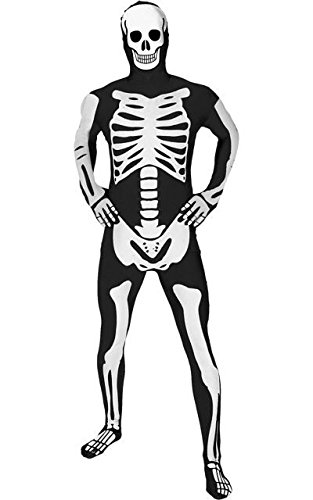 "[Glow Skeleton Morphsuit Fancy Dress Costume - size Medium - 5""-5""4 (150cm-162cm)] (Glow Skeleton Costumes)"