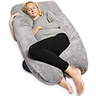 QUEEN ROSE Pregnancy Pillow - Full Body Maternity Pillow U Shaped,Support Back/Neck/Head with Velvet Cover,Gray