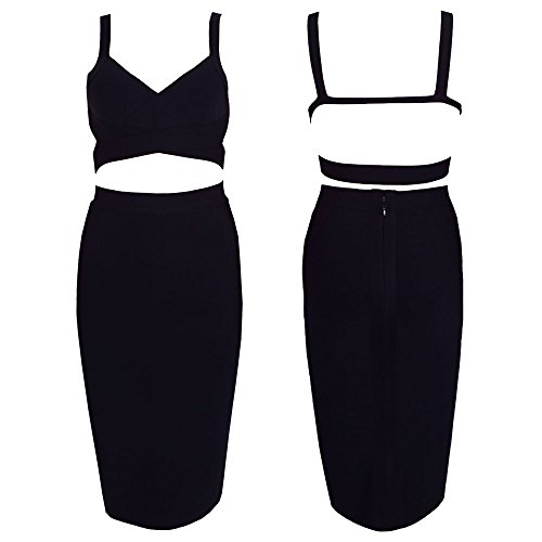 HLBandage 2 Bandage Knee Color Length Dress Schwarz Pure Women Piece Set HAfwH