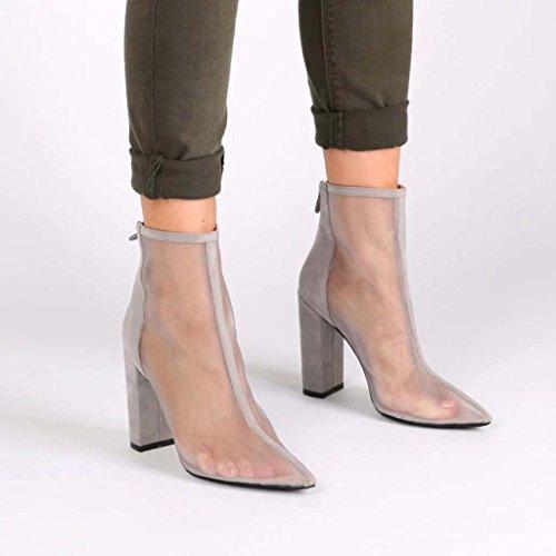 SHEO sandalias de tacón alto Damas de malla con sandalias gruesas sandalias apuntadas transpirables de tacones altos Gris