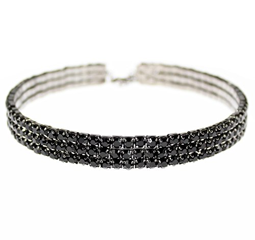 Austrian Crystal Rhinestone Choker Necklace (Janefashions Jet Black Austrian Crystal Rhiestone Choker Necklace Party Gift N0942 (3-Row))