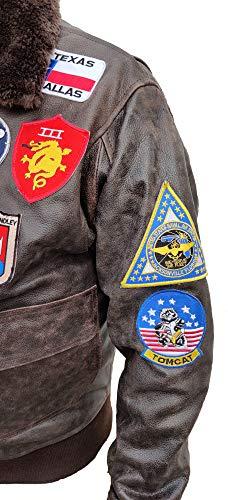 Noble House Homme Veste Aviation Top Gun Mavericks en Cuir de Taureau Marron foncé 7