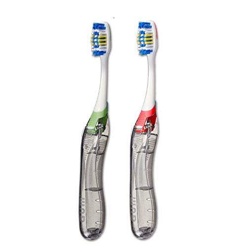 Travel Folding Toothbrush – Soft – Assorted Colors – Great For Travel, On The Go, Office, Car And Home – 1Dz.