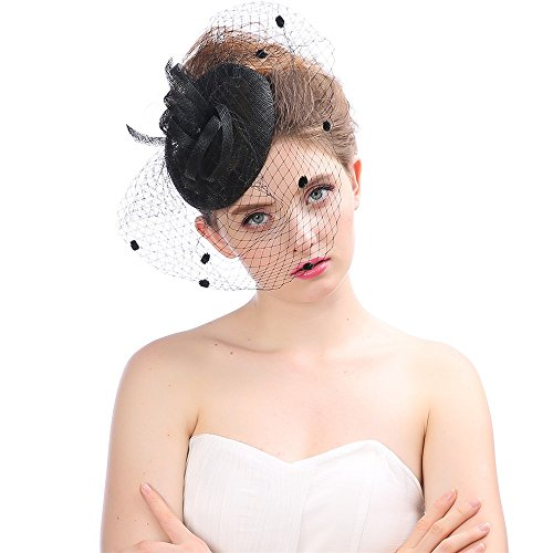 ✿✿Ratoop✿✿Fashion Wedding Women Fascinator Penny Mesh Hat Ribbons and Feathers Party Hat -