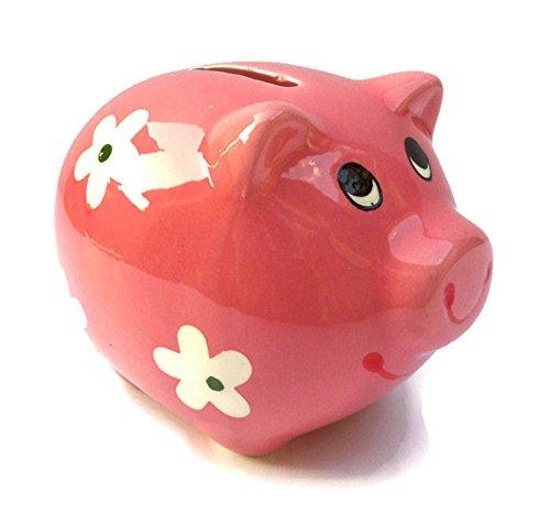Flower Pink Bank (Small Pink Ceramic Piggy Bank - Pig w/ Flowers)
