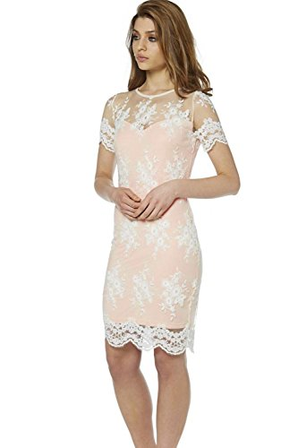 Frauen eleganter Spitze hohl, figurbetontes Kleid