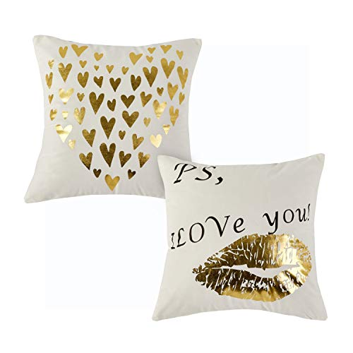 - Sunday Praise Velvet Decorative Pillow Covers Gold Print Set of 2 Accent Handmade 18x18 Inch Square Cushion Covers Throw Pillowcases for Couch/Sofa/Bed/Chair(Love Heart)