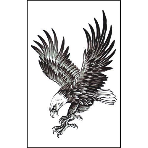 2 Pcs Mens Temporary Tattoos Eagle Realistic Waterproof Tattoos Biker Tattoos Rocker Transfers for Arms Shoulders Chest & Back Boys Tattoos Body Art Tattoo Sticker Waterproof Black (Black)