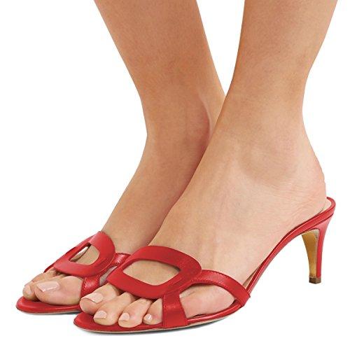 FSJ Women Summer Low Heels Sandals Open Toe Kitten Mules Cutout Slip On Casual Shoes Size 15 Red (Mule Kitten)