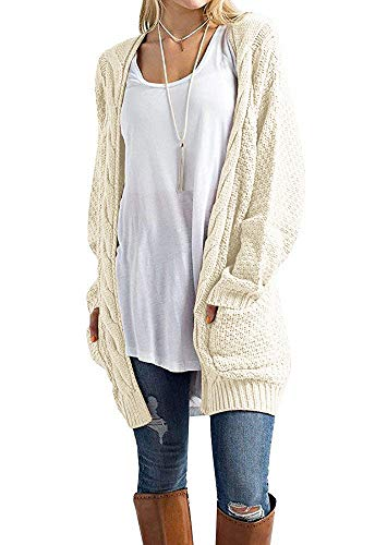 Misassy Womens Boho Open Front Cardigans Loose Cable Chunky Knit Sweater Pointelle Pullover with Pockets Beige
